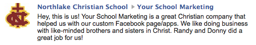 Testimonial from Northlake Christian School - Louisana about Custom Facebook Page