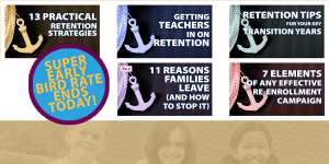 5 mini-courses all about RETENTION! Keep your best students - stop the draft! Anchor them to your school! #ismarketing