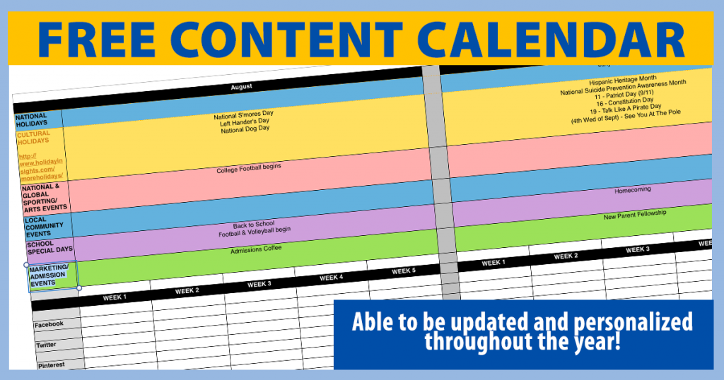 SCHOOL MARKETING PLANNING: get your free content calendar that you can keep up-to-date and personalize